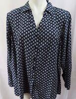 Croft & Barrow Womens PLUS sz 2X Blouse Top Blue Floral Print V-neck Button L/S