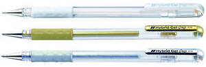 3 X Pentel Hybrid Ball Point Gel Pen 0.8 - Gold, Silver And White Special Price