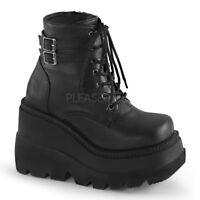 Demonia SHAKER-52 Women's Black Stack Wedge Platform Goth Punk Cyber Ankle Boots