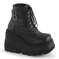 Demonia SHAKER-52 Women's Black Vegan Leather Stack Wedge Platform Lace-Up Boots