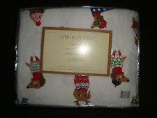 New Cynthia Rowley 4 Pc QUEEN Flannel Sheet Set Dachshunds Weiner Christmas Dogs