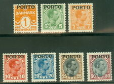 DENMARK #J1-7 (L3-9) Postage due set complete, og, NH, VF, Scott $300.00