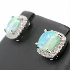 Gorgeous Green Opal Earrings Women Engagement Jewelry Gift 14K White Gold Plated