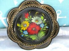 Rare Flower Shape Vintage Hand Painted Signed Art Floral Tole Russian Tray
