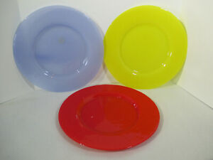 """Plates Dibbern Glass Galaxy Platters Chargers Red Blue Yellow 3pcs Large 13"""""""