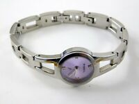 Fossil Womens Wristwatch ES-9379 Purple Face Stainless Steel Band NEEDS NEW BATT