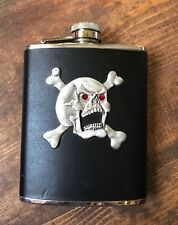 Flask-Skull and Crossbones-Black Leather-Red Crystal Eyes-Stainless Steel-6 oz.