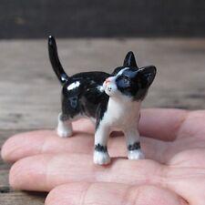 Tuxedo Ceramic Cat Black and White Cat Figurine Ceramic Collection Cat Pottery