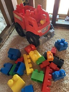 Mega Bloks - Fire Truck Rescue Building Set - Red- With Blocks