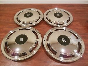 SET OF 4 REPLACEMENT FITS ROLLS ROYCE 15 INCH CHROME HUBCAP SILVER SPUR CORNICHE