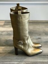 Beautiful Sergio Rossi Gold Boots Size 37.5