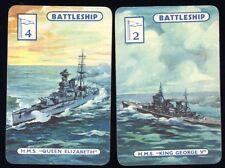 Rare 1940 WWII Royal Navy WARSHIPS SWAP CARDS HMS King George V  QUEEN ELIZABETH
