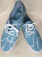 New Gravis Burton Men Slymz Pool Blue/White Lines Canvas Sneakers sz 10 US/44 EU