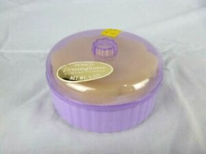 NOS Vtg 60s Ponds Dreamfower Dusting Powder Purple Lilac Plastic Jar W/ Puff