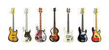 BASS GUITAR Panorama STAMPA. 7 famoso Bass Guitars