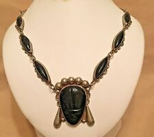 Vintage 1950s Modernist Taxco Mexico Sterling Silver Hand Carved Onyx Necklace