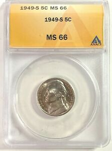 1949-S 5c Jefferson Nickel - ANACS MS 66 ***LUSTER***