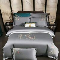 Chinoiserie Floral Embroidery Bedding Set Egyptian Cotton Duvet Cover Bed Sheet