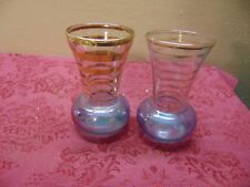 Vintage Depression Era?  Blue Glass Short Vase Gold Ringed 2 pc