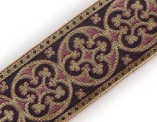"Rose Gold 2¼"" Christian Vestment Jacquard Trim Pugin 3 Yds Antique Reproduction"