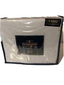 Pendleton Home Collection 4 Piece Sheet Set King 100%  cotton Grey NEW