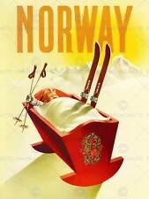 Turismo de viaje deporte de invierno Noruega cuna de Esquí Nieve impresión de arte posterbb 7700B