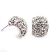 Full Crystal Half Hoop Studs Austria Crystal 18K White Gold-Plated Earrings