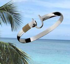 6mm .925 Sterling Silver & 14K Gold ST. CROIX Caribbean Hook Bracelet - 7.5