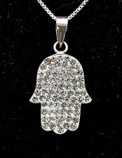 Hamsa Charm Pendant Necklace Kabbalah luck Fatima hand 925 Sterling Silver #24
