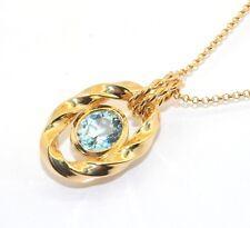 Technibond Blue Topaz Twisted Pendant Chain 14K Yellow Gold Clad Silver Gemstone