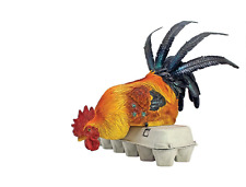 Colorful BARN YARD PERCHED ROOSTER STATUE Sitting Chicken Sculpture Shelf Sitter