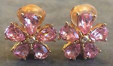 Christian DIOR Pink Flower Crystal Earrings Vintage Designer