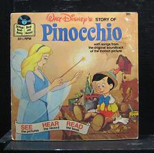 "Walt Disney's Pinocchio Story and Songs 7"" Vinyl + Book VG+ 1977 USA 311"