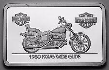 1.4 oz .999 silver bar 1980 FXWG WIDE GLIDE Harley Davidson COA, GRT GIFT