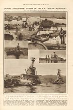 "1918  ANTIQUE PRINT WW1 -DUMMY BATTLESHIPS - VESSELS OF RN ""SUICIDE SQUADRON"""