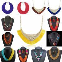 Women Pendant Necklace Crystal Choker Chunky Statement Chain Bib Fashion Jewelry