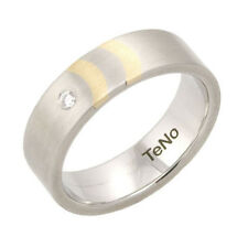 TeNo Ring Gr. 18,5/58 Damenring 2 Goldeinlagen 18k/750er Gold Diamant 0,04ct.