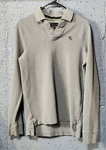 A&F Abercrombie Muscle Mens Grey Thick Pique Cotton Long Sleeve Polo Shirt M