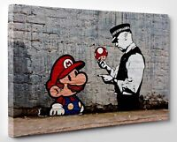 Banksy Super Mario and Policeman Canvas Print Steet Art Framed Ready To Hang DEC