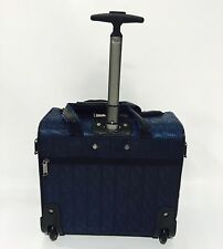NEW NICOLE MILLER SIGNATURE QUILT LUGGAGE UNDER SEAT CARRY ON NAVY $240