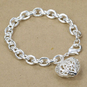 Chunky Links 925 Silver Plated Bracelet Bangle Anklet With Hollow Heart.7.5.Big