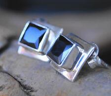 Handarbeit Ohrstecker Silber Eckig Modern Saphir Blau Schlicht Stecker 1 cm