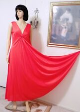 """DEENA vintage """"RARE"""" RUBY RED Keyhole Grecian Nightgown Style 1420 size M medium"""