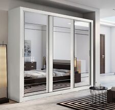 Brand New Modern Bedroom 3 Sliding Door Mirror Wardrobe ARTI 2 250cm White Matt