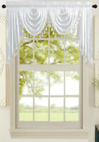 All American Collection New Attached Solid Faux Silk Double Waterfall Valance