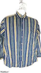 Trader Bay Men's Casual Shirt Size Medium Striped 100% Cotton Button Front Shirt