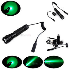 Tactical Green Light Flashlight+Remote Pressure Switch For Autumn Hunting