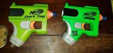 Lot of 2 NERF Dart Tag Single Shot Soft Dart Tag Eliminator Guns Green & Olive