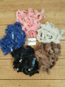 10m x 2.5cm Real Rabbit Fur Trim Trimming Blue Pink Brown Black Beige EB407