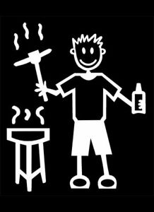 MY STICK FIGURE FAMILY Car Window StIckers M6 BBQ & LAGER
